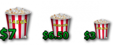 Three sizes of popcorn priced at $7, $6.50 and $3