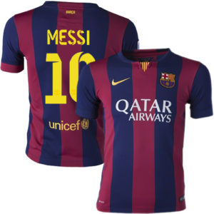 Front and back image of Lionel Messi's jersey showing his name and commercial sponsor name