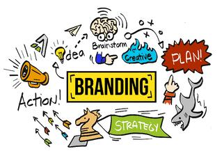 Bright, cartoon drawing of branding elements