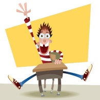 Cartoon kid at school desk eagerly raising his hand