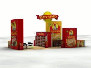 Display of multiple Sunmaid raisin boxes