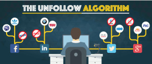Graphic image man at computer with social media icons under heading the unfollow algorithm