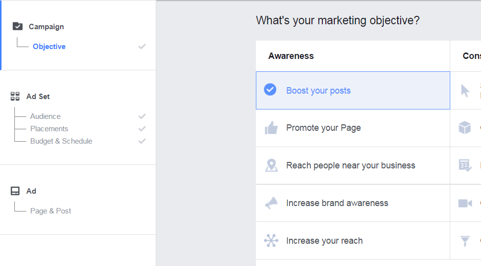 Choose Your Marketing Objective on Facebook