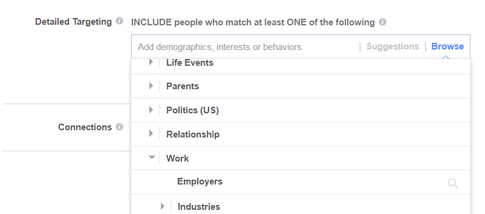 Selecting Employers to Target Facebook Ads