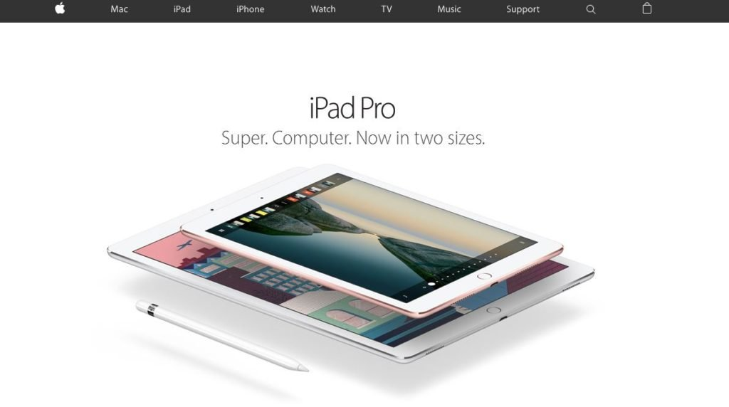Screenshot of Apple website showing iPad Pro