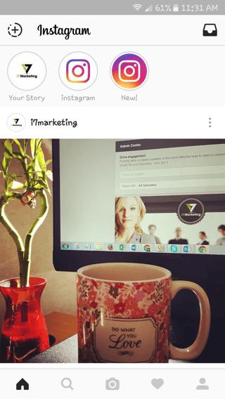 Instagram screenshot of coffee mug in front of laptop