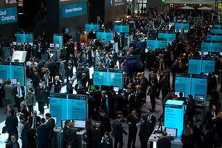 Photo of busy trade show floor