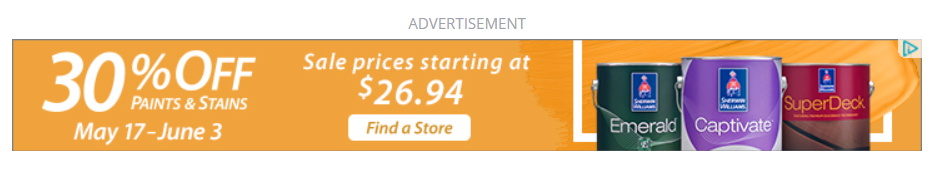 PPC advertisement on a website